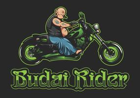 budai rider vector illustration