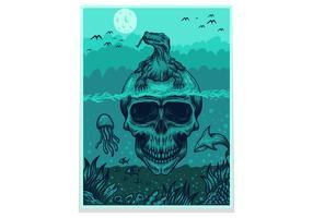 schedel komodo draak poster / flyer vector illustratie