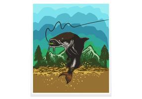 Ilustración de vector de cartel / flyer de peces gato