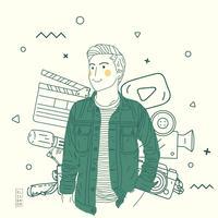 Enkel hand Rita platt illustration man med filmobjekt