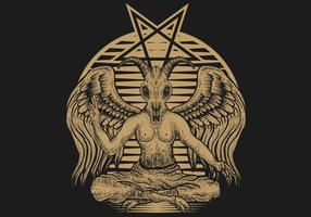 illustration vectorielle de baphomet monde