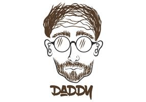daddy face hand draw vector