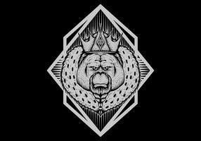Ilustración de vector de orangután rey insignia