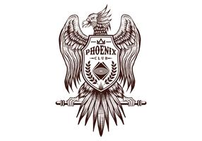 Phoenix hand tekenen club vector illustratie