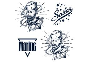 mão de homem marinheiro mão desenhar ilustração vetorial