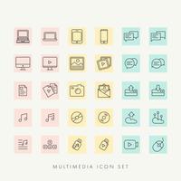 vetor de conjunto de ícones multimídia da web