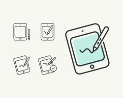 Simple Tablet or Pen Tab Flat Icon Vector