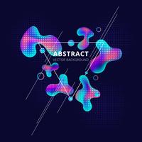 Abstract trendy fluid shape bright gradient colors on dark background. Triangle white frame liquid or ink drops design element with Copy Space.