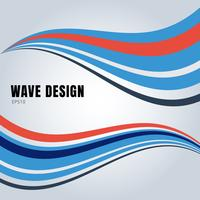 Abstract blue and red color smooth waves design on white background.