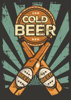 Retro vettore d'annata del contrassegno della birra fredda