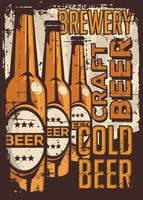 Cold Beer Vintage Retro Signage Vector
