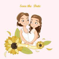 cute LGBT couple for wedding invitation card