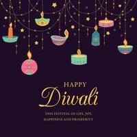 Fröhliches Diwali. Festival des Lichts, Grußkarte. Bunte Plakate der Diwali mit Hauptsymbolen. Deepavali Licht- und Feuerfest. Indisches deepavali hinduistisches Festival der Lichter. Vektor-illustration