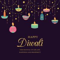 Glad diwali. Ljusfestival, gratulationskort. Diwali färgglada affischer med huvudsymboler. Deepavali ljus- och eldfestival. Indisk deepavali hinduisk ljusfestival. Vektorillustration.