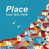 Modello con mare, case colorate e testo di esempio.