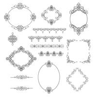 Set collection of borders, frames, dividers in calligraphic retro style isolated on white background.