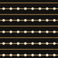 Seamless pattern of Gold chain lines on black background. Vector illustration