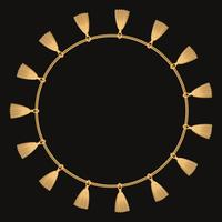 Round frame made with golden chain. On black. Vector illustration