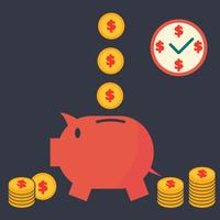 piggy bank vector flat design