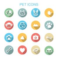 pet long shadow icons vector