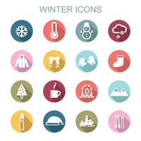 winter long shadow icons vector