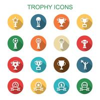 trophy long shadow icons vector
