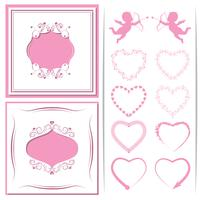 A set of paper-cut framework. Set of hearts to cupids, and design. Vector illustration.