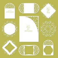 Wedding invitations. Lace background with place for text. Lace frames for decoration and design.