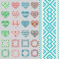 Set of decorative frames and hearts in ethnic style. Seamless pattern.