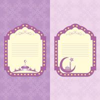 Vintage frame in Arabic style in the image of the mosque and a seamless pattern.