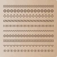 Collection of vector dividers on old paper. It can be used for design, writing, design.