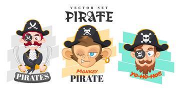 Conjunto de crianças de pirata plana