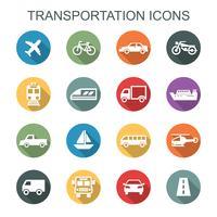 iconos de la larga sombra de transporte