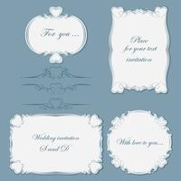 Set vintage dividers and frames of different shapes decorated with hearts. Vector illustration.