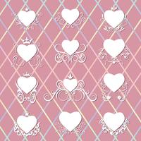 Collection of decorated hearts. vector