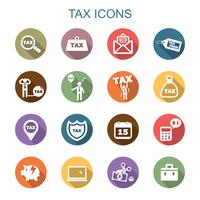tax long shadow icons vector