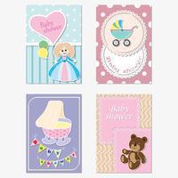Un conjunto de tarjetas de felicitación infantiles, invitaciones. Vector