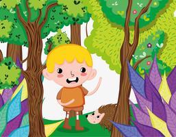 Ragazzo carino nella foresta