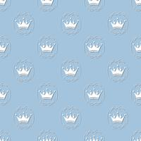 mless pattern with crowns in vintage frame. Vector