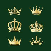 Set of crowns. Vector elements of embroidery.