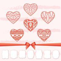 En uppsättning hjärtan och en samling ramar med olika former genom att klippa ut papper.