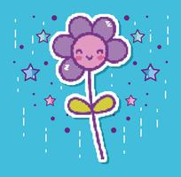 Pixelated flower videogame character