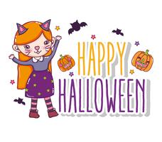 Happy halloween card cartoons