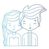 line beauty couple together with hairstyle design