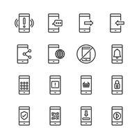 Jeu d'icônes de téléphone portable. Illustration vectorielle