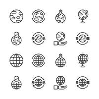 Global related icon set.Vector illustration