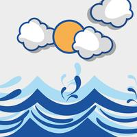 ocean waves with lanscape clouds design