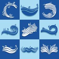 set ocean waves with differes shapes design