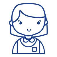garota casual de silhueta com uniforme de blusa e penteado