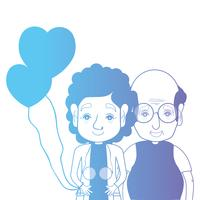 line couple togeter with hairstyle and hearts balloons